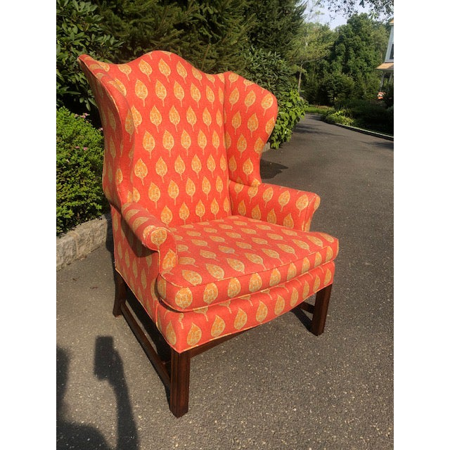 Classic and timeless Kittinger Colonial Williamsburg wingback, reimagined in a cheery, bright upholstery . So comfortable...