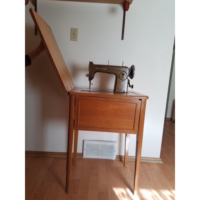 Mid-Century New Home Sewing Machine With Cabinet - Image 4 of 5