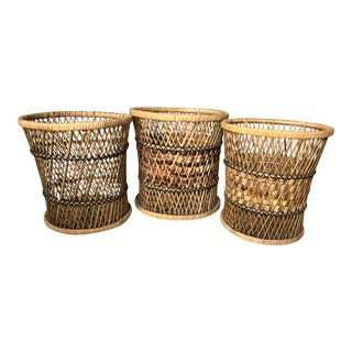 Vintage Boho Wicker Planters - Set of 3 For Sale