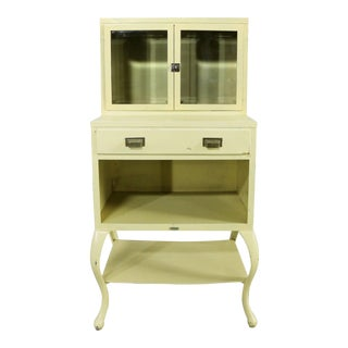 Petite Industrial Antique Medical Apothecary Cupboard with Cabriole Legs