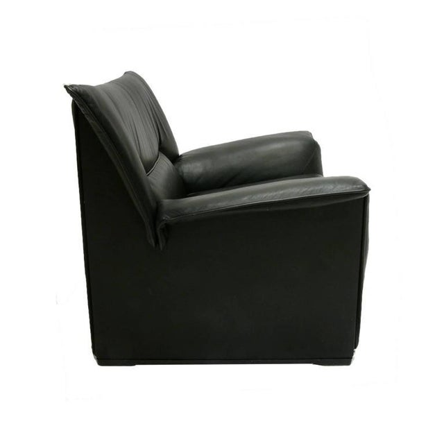 B&B Italia Afra and Tobia Scarpa for B & B Italia Black Leather Lounge Chair For Sale - Image 4 of 7