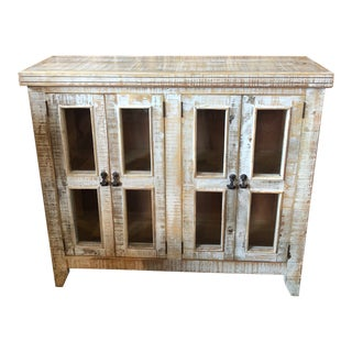 Boho Chic White Washed Glass Door Cabinet