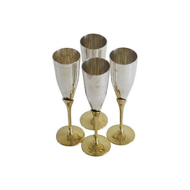 Silver & Brass Champagne Flutes - Set of 4 - Image 2 of 4