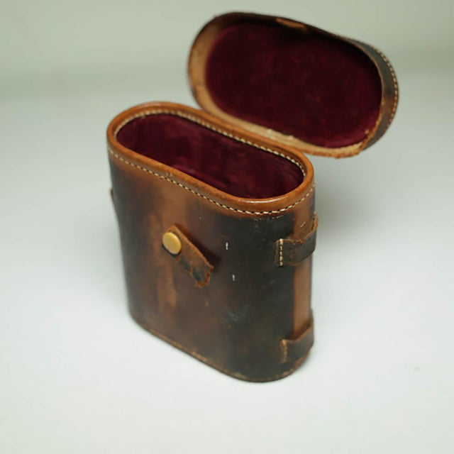 Leather Wrapped Binoculars and Leather Case C. 1940-1950s For Sale - Image 4 of 11