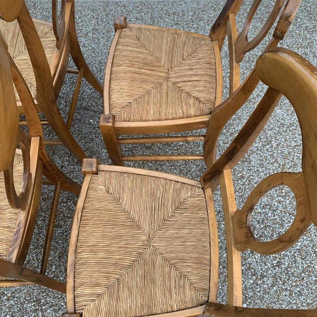 Wood Pottery Barn Natural Wood Finish Rush Seat Chairs - Set of 6 For Sale - Image 7 of 12