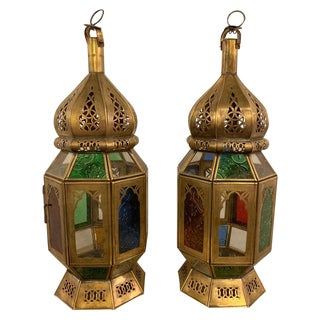 1980s Vintage Moroccan Lanterns in Brass With Multicolored Glass- a Pair For Sale