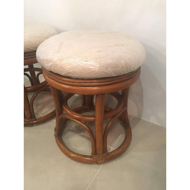 Vintage Tropical Palm Beach Rattan Stools Benches - a Pair For Sale - Image 4 of 10