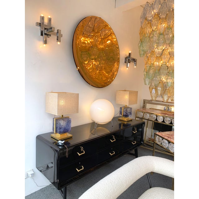 Brass Italian Contemporary Curve Convex Mirror For Sale - Image 8 of 11