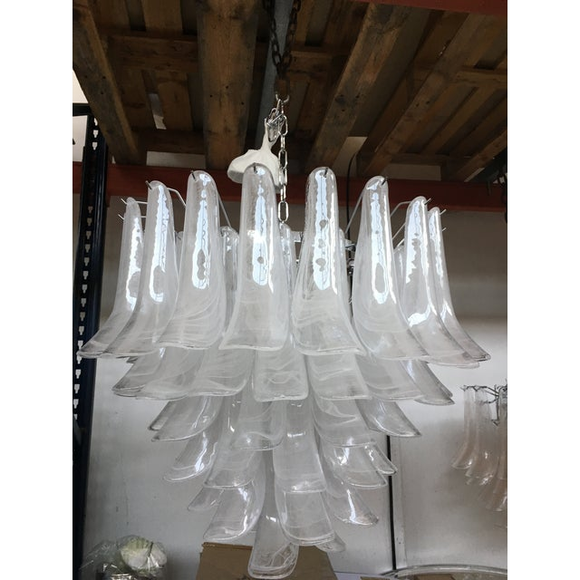 "Metal ""Selle Alabastro"" Mazzega Style Chandelier Murano Glass For Sale - Image 7 of 7"