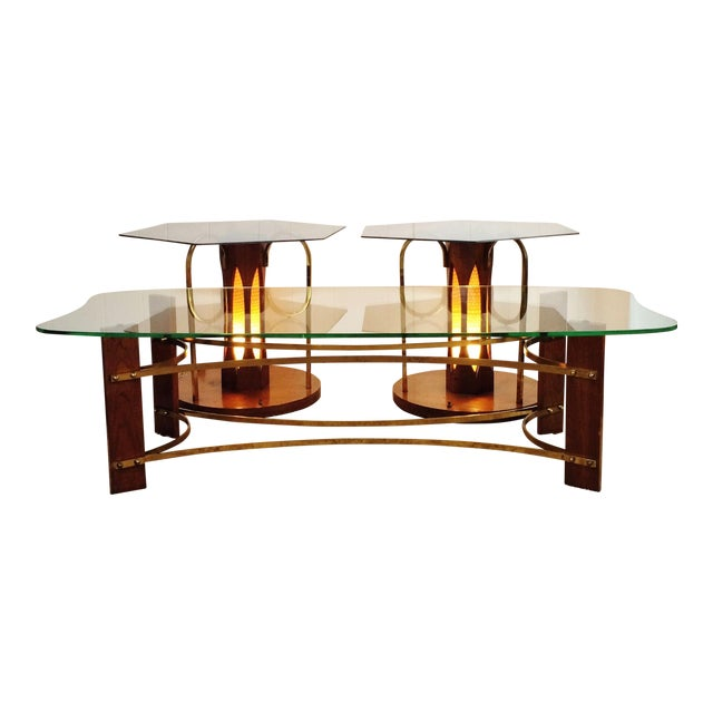 Mid-Century Wood & Glass Coffee & Lighted Side Table - Set of 3 For Sale