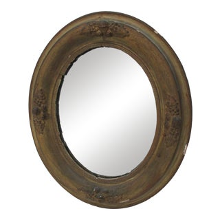 Antique Oval Mirror With Distressed Gold Finish For Sale