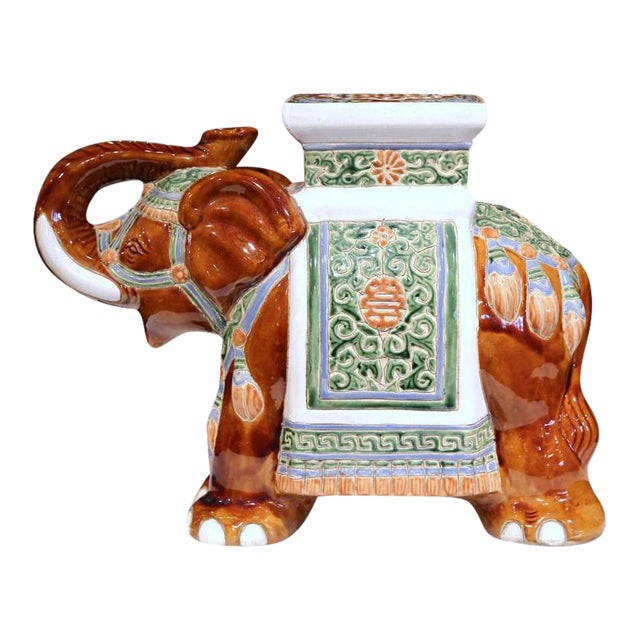 Early 20th Century French Hand-Painted Faience Elephant Garden Seat For Sale
