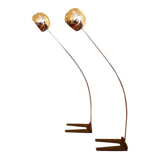 Mid Century Modern Chrome, Arc, Eyeball Floor Lamps - A Pair