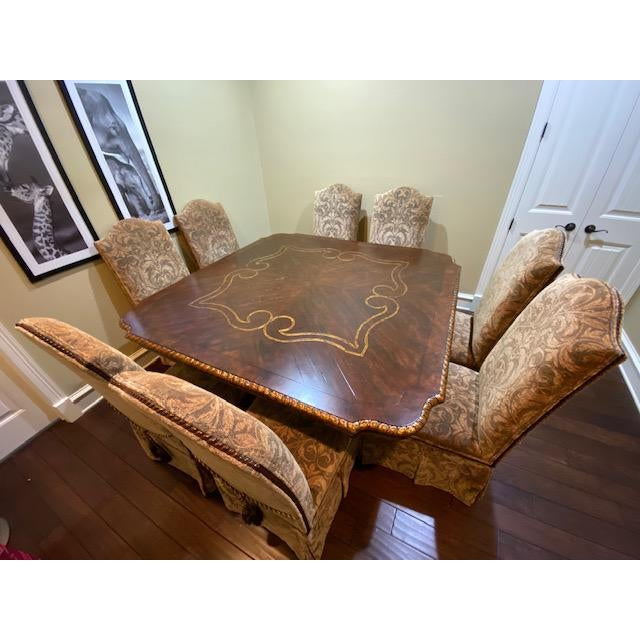 Gold Embossed Dining Table and Chairs For Sale - Image 10 of 10