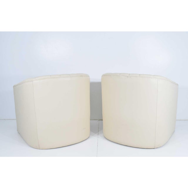 1980s Channel Tufted Barrel Back Tub Chairs - a Pair For Sale In Dallas - Image 6 of 8