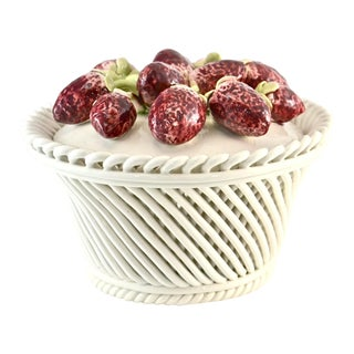 Italian Ceramic Strawberry Top Box For Sale