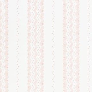 Sample - Schumacher Nauset Stripe Wallpaper in Blush For Sale