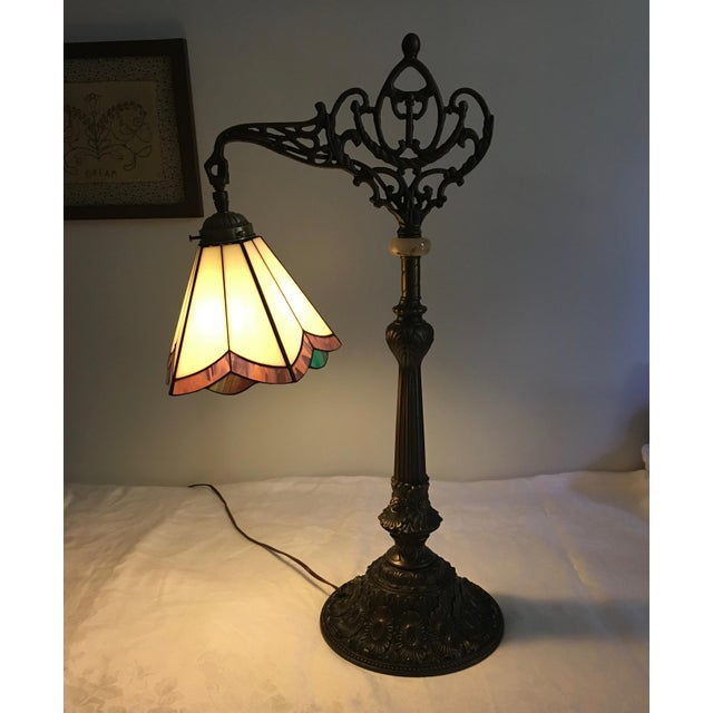 Traditional Stained Glass Bridge Table Lamp For Sale - Image 3 of 6