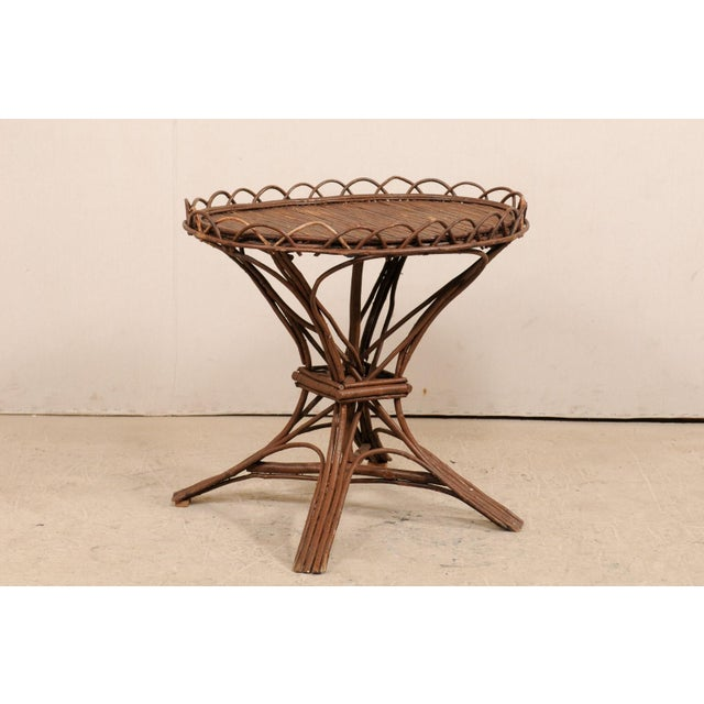 Brown 20th Century Swedish Wood Twig and Reed Oval Side Table For Sale - Image 8 of 12