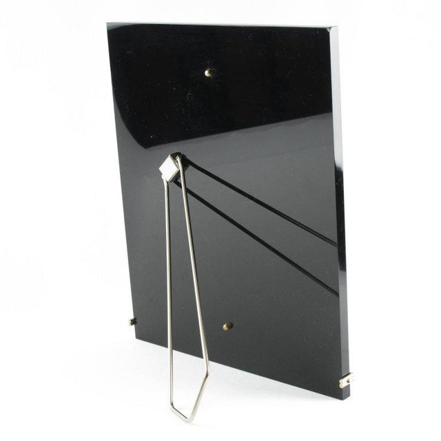 Contemporary Mid-Century Modern Black Lucite and Chrome Picture Photo Frame For Sale - Image 3 of 5