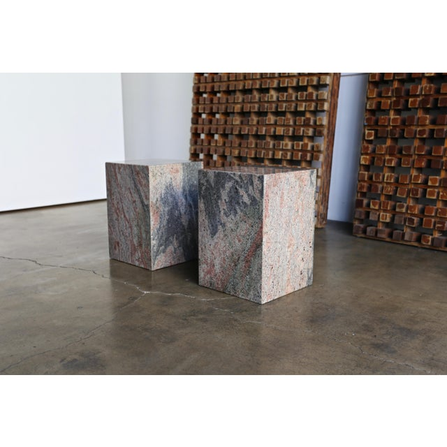Contemporary 1980s Granite Stone Occasional Tables - a Pair For Sale - Image 3 of 11