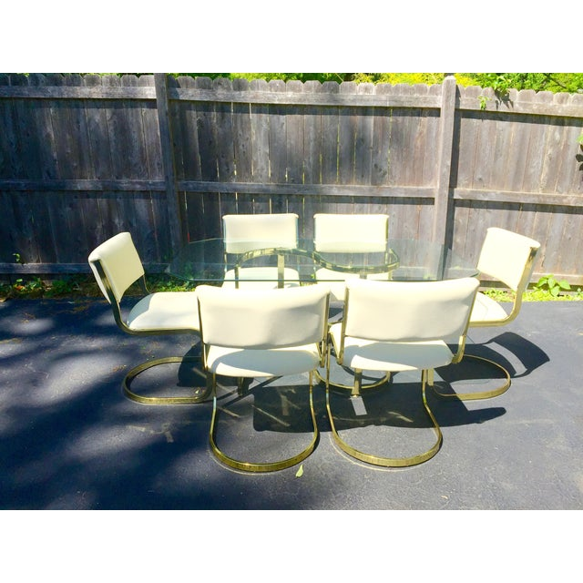 Brass & Glass Dining Set - Image 2 of 10