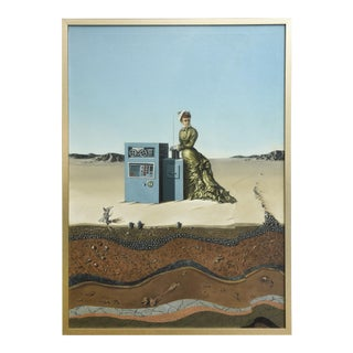 "Oil on Canvas ""Desert Landscape with Woman & Computer,"" Robert Springfels, 1970 For Sale"