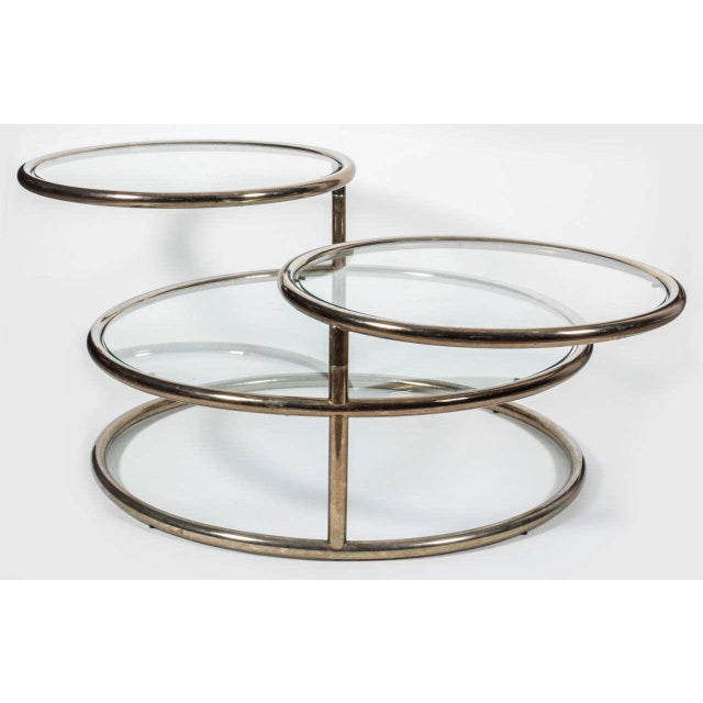 1970s Three-Tier Brass Coffee/Cocktail Table For Sale - Image 4 of 5