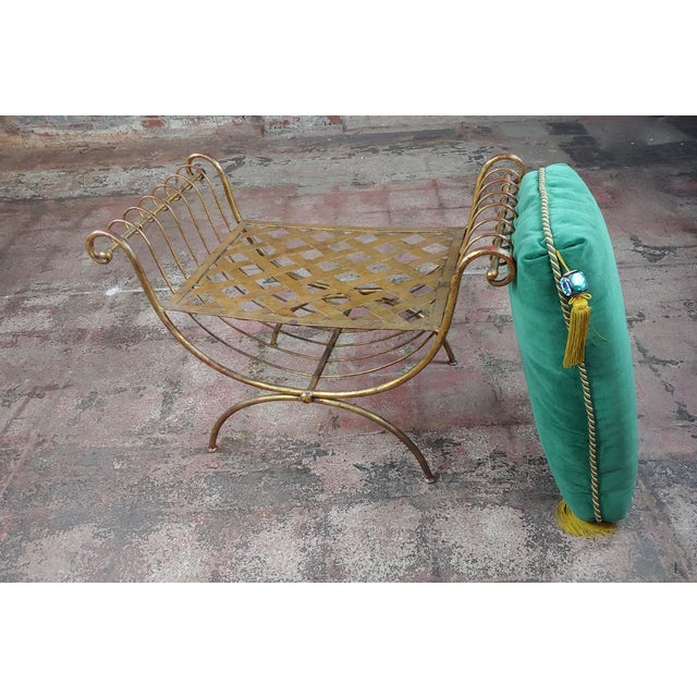 Green Beautiful Gilt Metal French Lady's Bench W/Velvet Pillow -C1920s For Sale - Image 8 of 10