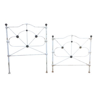 19th Century Shabby Chic Iron Bedframe - 2 Pieces For Sale