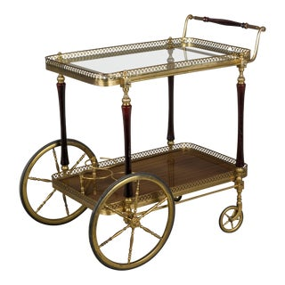 1940s French Brass and Mahogany Bar Cart For Sale