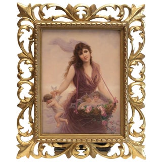 Very Fine Kpm Porcelain Plaque Beauty Collecting Cherubs, Signed Walther For Sale