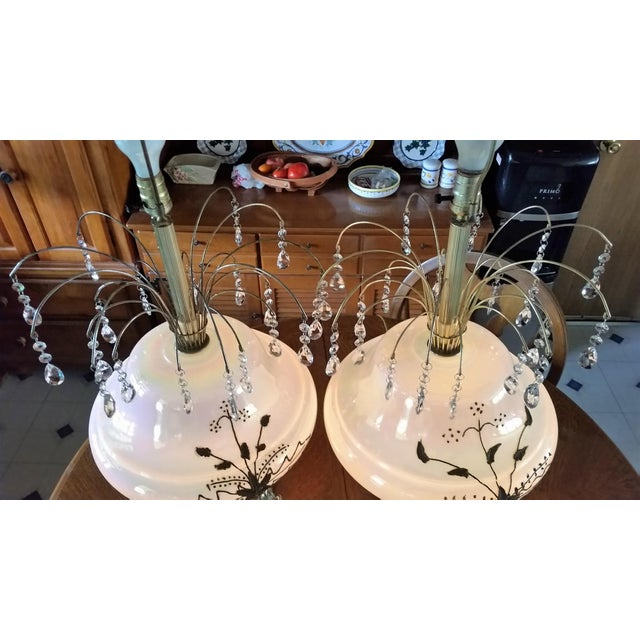 Falkenstein Mid-Century White Opalescent Glass Table Lamps - A Pair For Sale - Image 4 of 5