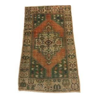 1960s Oushak Antique Handmade Rug- 3′3″ × 5′10″ For Sale