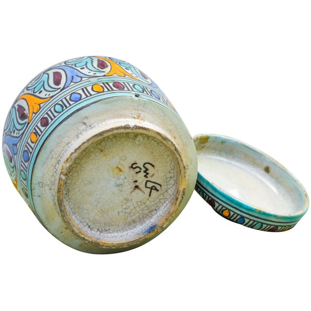 Moorish-Patterned Ceramic Lidded Jar For Sale - Image 9 of 10