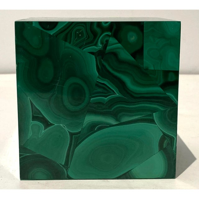 Malachite cube with lovely patterns for desk accessory or any spot needing a bit of magic.