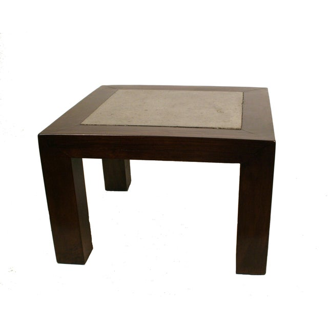 Square Stone Elm Wood Side Table - Image 2 of 3