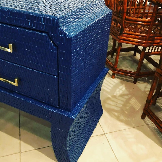 Hollywood Regency Vintage Blue Lacquered Wicker Brass Credenza Chest Console Table For Sale - Image 3 of 13