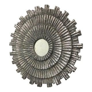 """18"""" Vintage Silver Leaf Sunburst Mirror For Sale"""