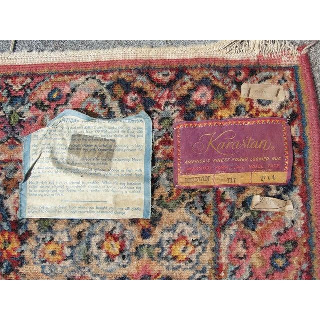 Vintage Mid-Century Karastan Kirman Wool Area Rug - 2′2″ × 4′ For Sale In Tampa - Image 6 of 8
