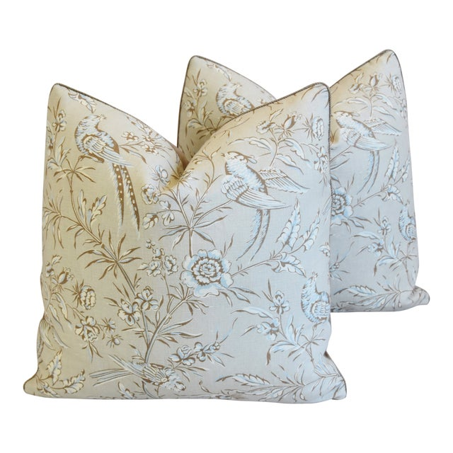 """Scalamandre Aviary & Velvet Feather/Down Pillows 21"""" Square - Pair For Sale"""