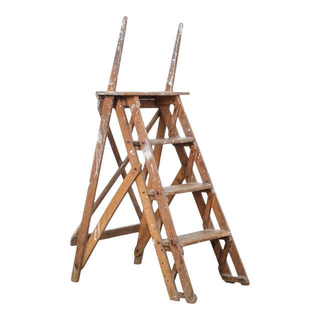 Antique French Wooden Step Ladder For Sale
