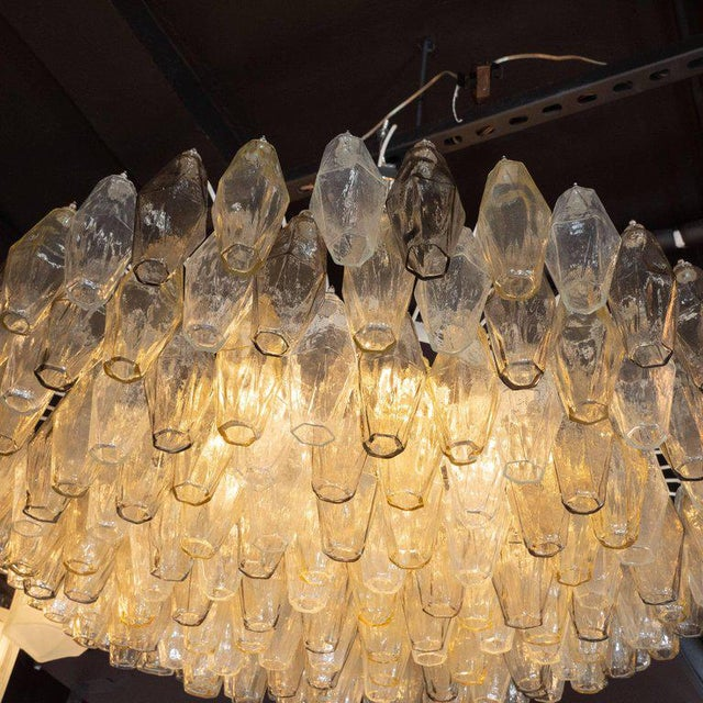 Metal Modernist Polyhedral Chandelier in Topaz, Citrine & Clear Handblown Murano Glass For Sale - Image 7 of 9