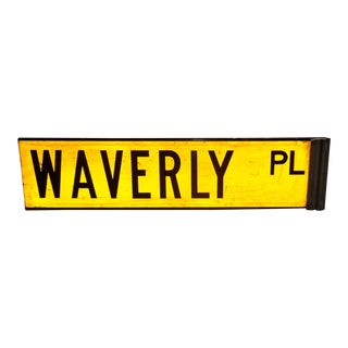 "1960s New York City Yellow Reflective Street Sign ""Waverly Pl"" - Greenwich Village For Sale"