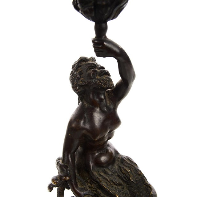 Late 19th Century 19th Century Bronze Figural Mermaid Candlesticks -A Pair For Sale - Image 5 of 9