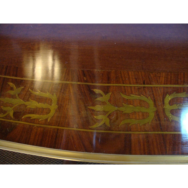Boulle Inlaid Demi Lune Console Serving Table For Sale - Image 5 of 10