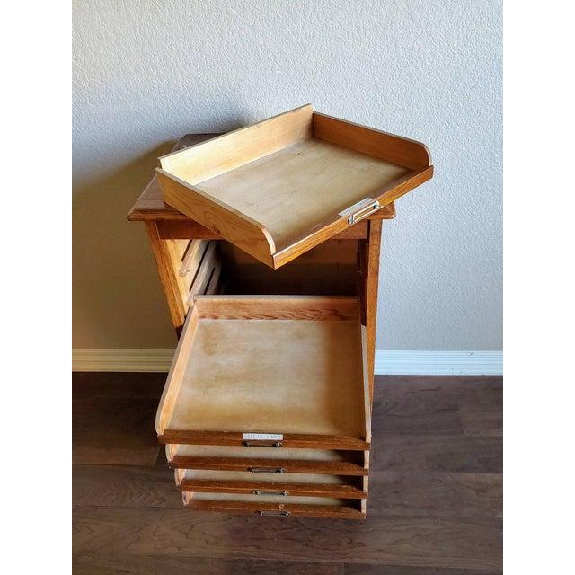 Brown Mid-Century Danish Modern Tiger Oak Tambour Cabinet For Sale - Image 8 of 11