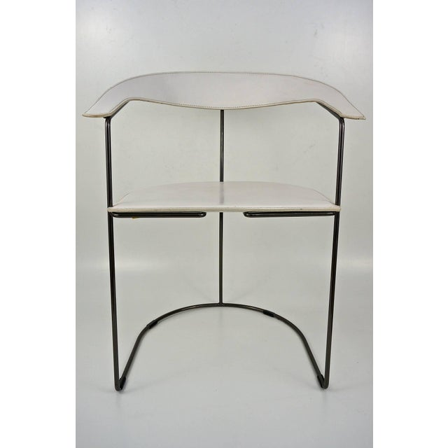 Set of Eight White Leather Chairs with Gunmetal Frames: Arrben, Italy - Image 5 of 7