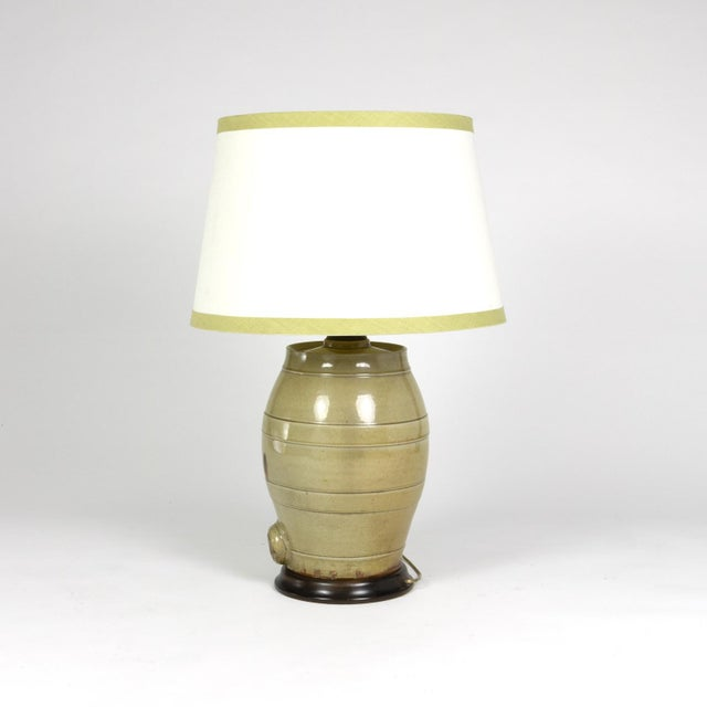 Pale Green Glazed Spirit Barrel, English Circa 1880 Mounted and Wired as a Table Lamp With Linen Shade For Sale - Image 4 of 13
