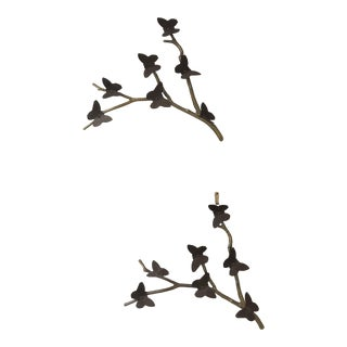 Mid-Century Metal Butterfly Branches - a Pair For Sale